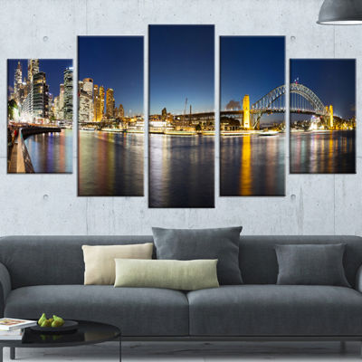 Designart Cityscape Sydney Nightfall Panorama Cityscape Wrapped Canvas Print - 5 Panels