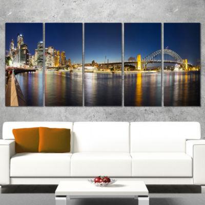 Cityscape Sydney Nightfall Panorama Cityscape Canvas Print - 5 Panels