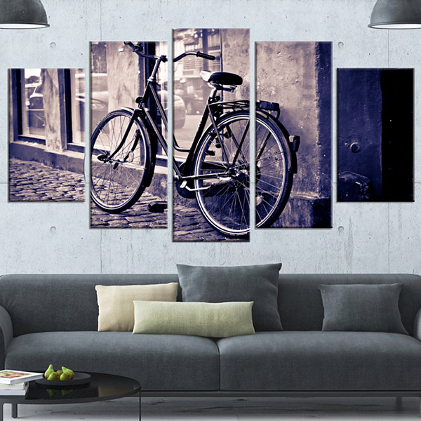 Designart Classic Vintage City Bicycle Landscape Wrapped Canvas Wall Art - 5 Panels