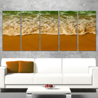 Designart White Waves From Green Beach Waters Seascape Canvas Art Print - 5 Panels