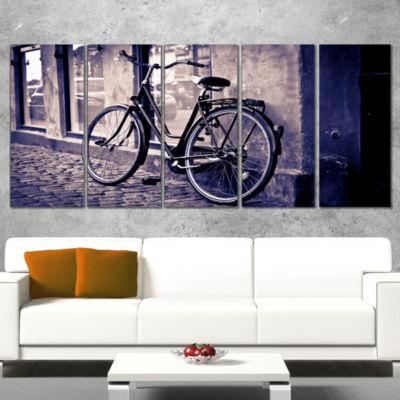 Designart Classic Vintage City Bicycle Landscape Canvas WallArt - 5 Panels