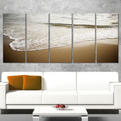 White Waves in Mediterranean Sea Seashore Canvas Art Print - 4 Panels