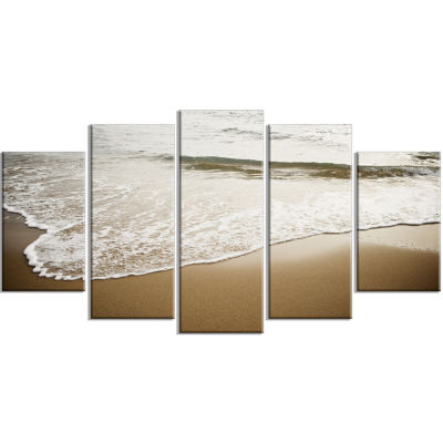 White Waves in Mediterranean Sea Seashore WrappedArt Print - 5 Panels