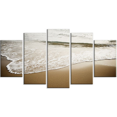 Designart White Waves in Mediterranean Sea Seashore WrappedArt Print - 5 Panels