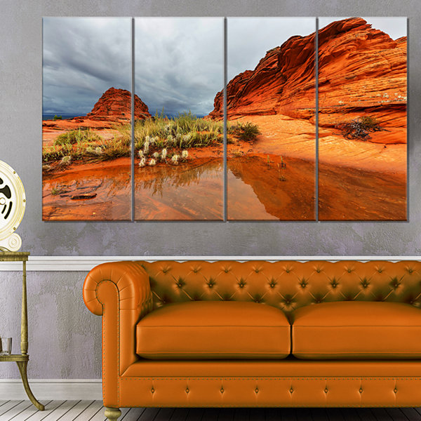 Designart Clear Lake Vermillion Cliffs Oversized Landscape Canvas Art - 4 Panels