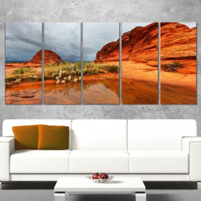 Designart Clear Lake Vermillion Cliffs Oversized Landscape Canvas Art - 5 Panels