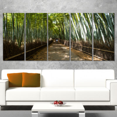 Designart Wide Pathway in Bamboo Forest Forest Canvas Wall Art Print - 4 Panels
