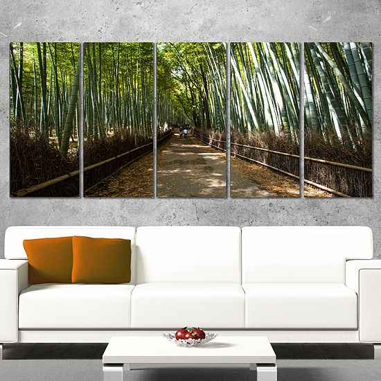 Designart Wide Pathway in Bamboo Forest Forest Canvas Wall Art Print ...