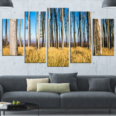 Clear Sky and Bush in Thick Forest Modern Forest Wrapped Canvas Art - 5 Panels