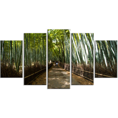 Designart Wide Pathway in Bamboo Forest Forest Wrapped WallArt Print - 5 Panels