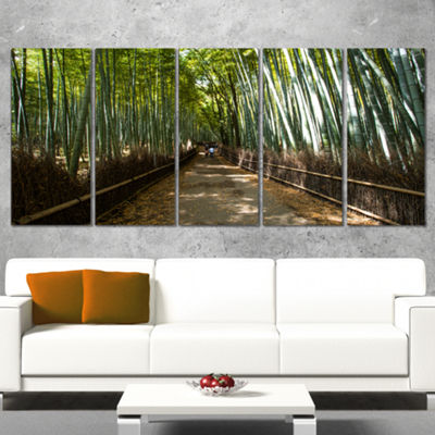 Designart Wide Pathway in Bamboo Forest Forest Canvas Wall Art Print - 5 Panels