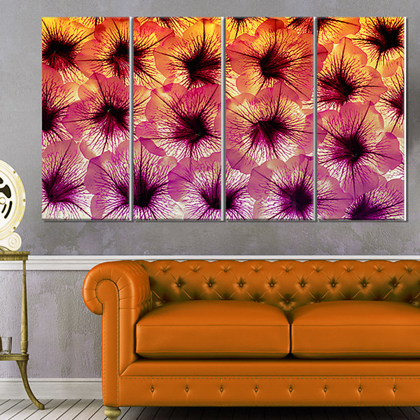 Designart Close Up Purple Flower Design Floral Canvas Art Print - 4 Panels