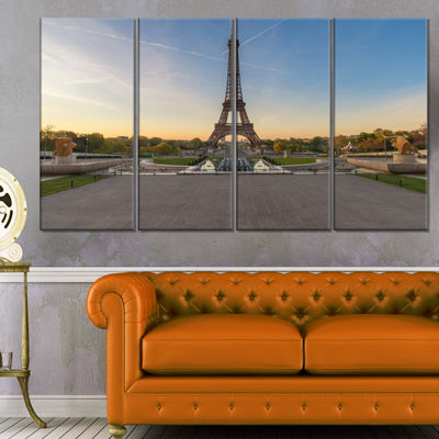 Designart Wide View of Paris Paris Eiffel ToweratSunrise Cityscape Canvas Print - 4 Panels
