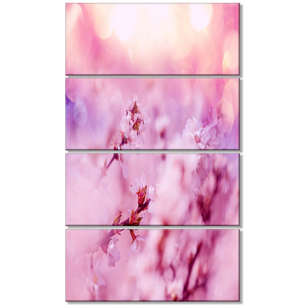 Designart Close Up View of Blossoming Cherry Floral Canvas Art Print - 4 Panels