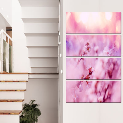 Close Up View of Blossoming Cherry Floral Canvas Art Print - 4 Panels