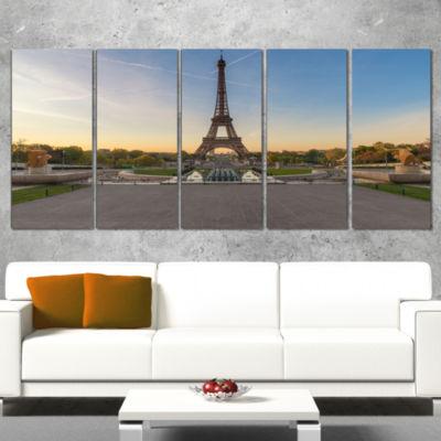 Designart Wide View of Paris Paris Eiffel ToweratSunrise Cityscape Wrapped Print - 5 Panels