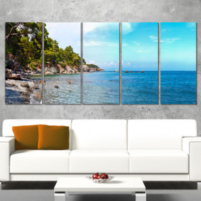 Wild Blue Beach Panorama View Extra Large SeashoreCanvas Art - 4 Panels