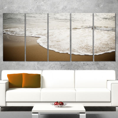 Close Up Waves in Mediterranean Sea Seashore Wrapped Canvas Art Print - 5 Panels
