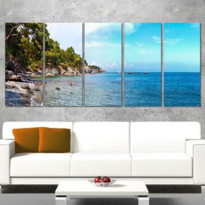 Designart Wild Blue Beach Panorama View Extra Large SeashoreWrapped Art - 5 Panels