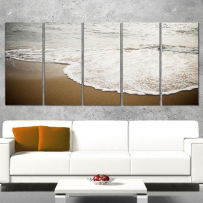 Designart Close Up Waves in Mediterranean Sea Seashore Canvas Art Print - 5 Panels