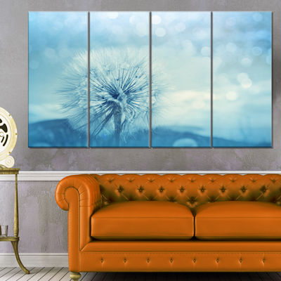 Designart Close Up White Dandelion with Filter Large FlowerCanvas Wall Art - 4 Panels