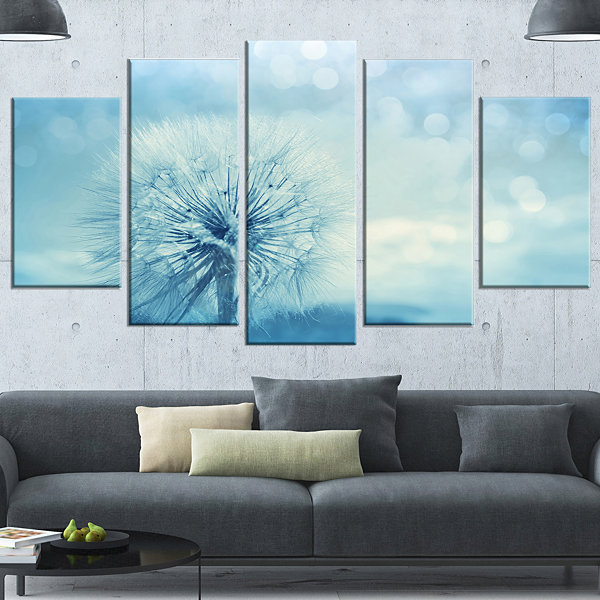 Designart Close Up White Dandelion with Filter Large FlowerWrapped Canvas Wall Art - 5 Panels