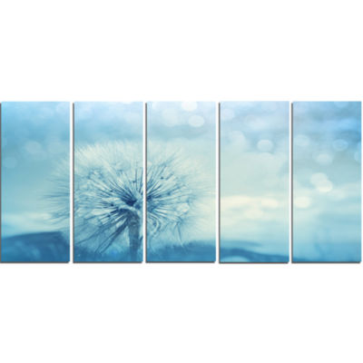 Close Up White Dandelion with Filter Large FlowerCanvas Wall Art - 5 Panels