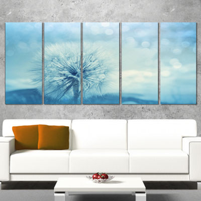 Designart Close Up White Dandelion with Filter Large FlowerCanvas Wall Art - 5 Panels