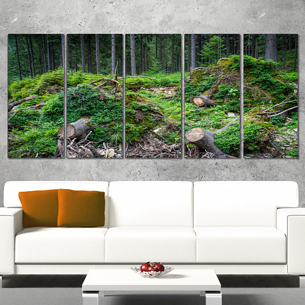 Designart Wild Deep Forest Rocks and Hills Landscape CanvasArt Print - 5 Panels