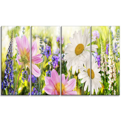 Designart Wild Flowers Field at Sunset Floral Photography Art - 4 Panels
