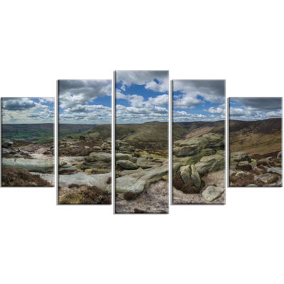 Designart Clouds and Stones Under Wild Clouds Landscape Artwork Wrapped Canvas - 5 Panels