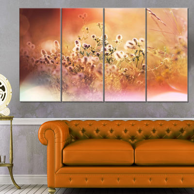 Designart Wild Flowers on Light Background FloralCanvas ArtPrint - 4 Panels