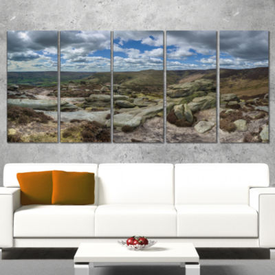 Designart Clouds and Stones Under Wild Clouds Landscape Artwork Canvas - 5 Panels
