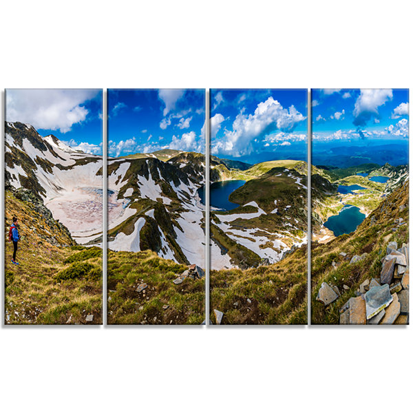 Designart Clouds Over Seven Rila Lakes Landscape Canvas ArtPrint - 4 Panels