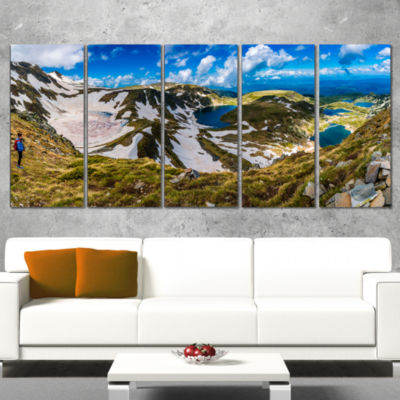 Designart Clouds Over Seven Rila Lakes Landscape Wrapped Canvas Art Print - 5 Panels