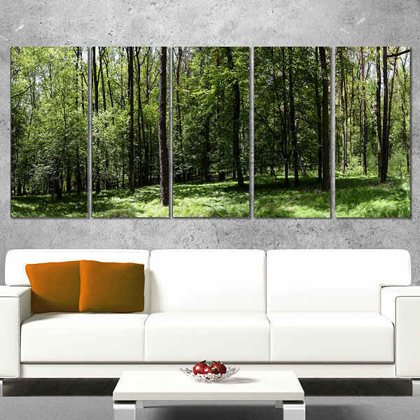 Designart Wild Green Forest Panorama Oversized Forest CanvasArtwork - 4 Panels