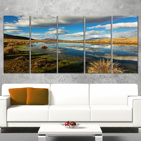 Designart Clouds Reflecting in Mountain Lake Oversized Landscape Canvas Art - 4 Panels