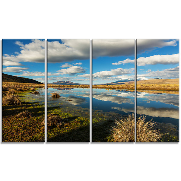 Clouds Reflecting in Mountain Lake Oversized Landscape Canvas Art - 4 Panels