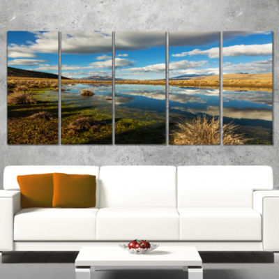 Designart Clouds Reflecting in Mountain Lake Oversized Landscape Wrapped Canvas Art - 5 Panels