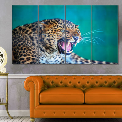Wild Leopard Close Up View Abstract Canvas Art Print - 4 Panels