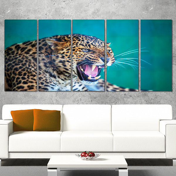 Designart Wild Leopard Close Up View Abstract Wrapped Art Print - 5 Panels