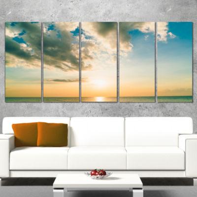 Designart Clouds Together Over Blue Seashore Seascape Wrapped Canvas Art Print - 5 Panels