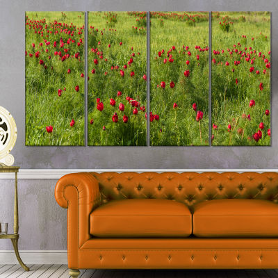 Wild Peonies Flower in Steppe Modern Landscape Wall Art Canvas - 4 Panels