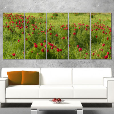 Designart Wild Peonies Flower in Steppe Modern Landscape Wall Art Canvas - 5 Panels