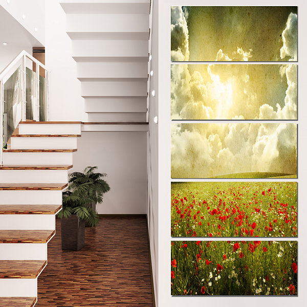 Designart Wild Poppies on Cloudy Background ExtraLarge Landscape Canvas Art - 4 Panels