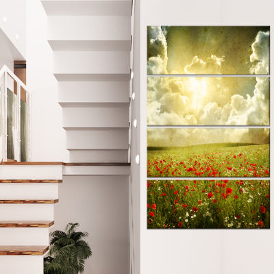 Wild Poppies on Cloudy Background Extra Large Landscape Canvas Art - 4 Panels