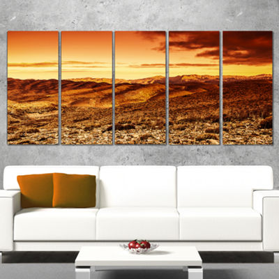 Designart Cloudy Dramatic Sunset in Desert Extra Large Landscape Wrapped Canvas Art - 5 Panels