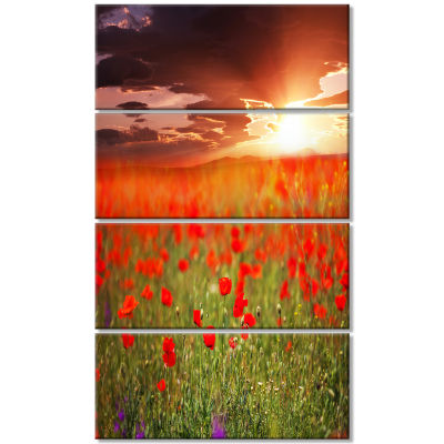 Wild Poppy Flowers at Cloudy Sunset Large Flower Canvas Art Print - 4 Panels