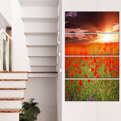 Designart Wild Poppy Flowers at Cloudy Sunset Large Flower Canvas Art Print - 4 Panels
