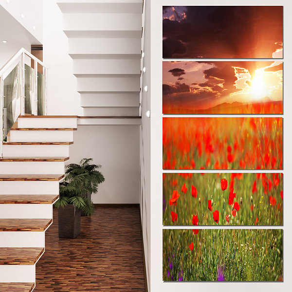Designart Wild Poppy Flowers at Cloudy Sunset Large Flower Canvas Art Print - 5 Panels